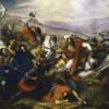 رسم تخيُّلي لِمعركة بلاط الشُهداء التي أوقفت الزحف الإسلامي نحو أوروپَّا.